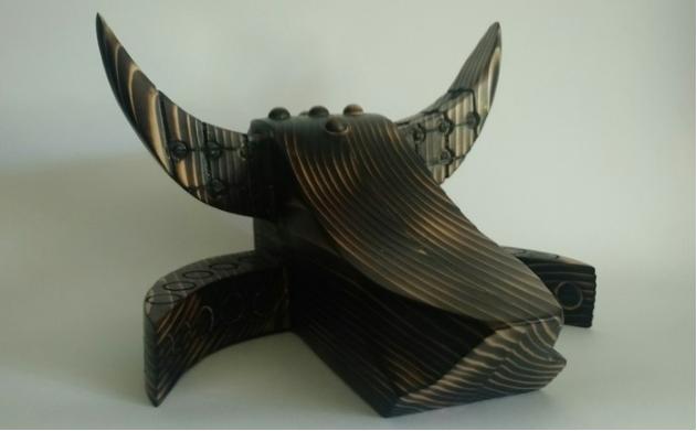 Jose Gonzalez-Soto, Pan y Cebolla I , 2016.  wood  5 x 9 x 9.75 in.  $300