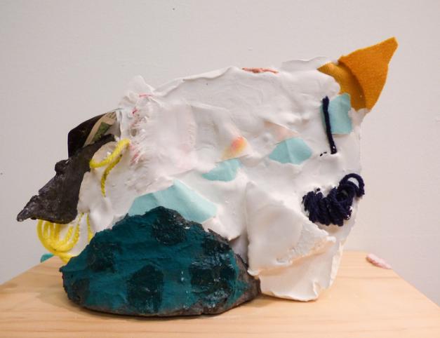 Jessi Hamilton, Inertia Excavation 1 , 2016.  plaster, fabric, collage, studio debris  8 x 9 x 4 in.  $150