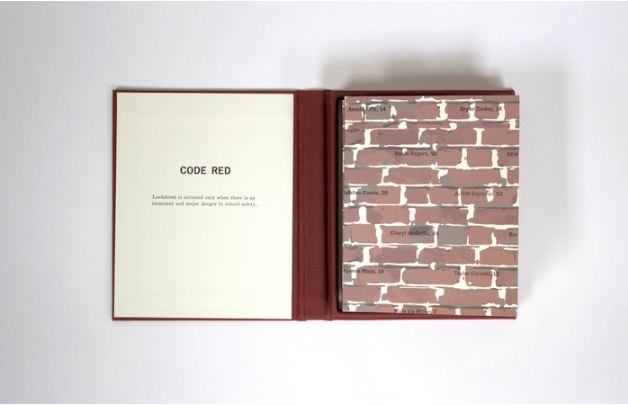Jaime Shafer, Code Red , 2016.  letterpress, printmaking  5.375 x 4.25 x 0.2 in.  $450