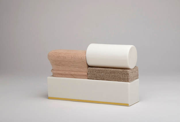 Mie Kongo, Untitled , 2016.  porcelain, glaze, underglaze, wood, 100% wool felt  5 x 8 x 2 in.  $500