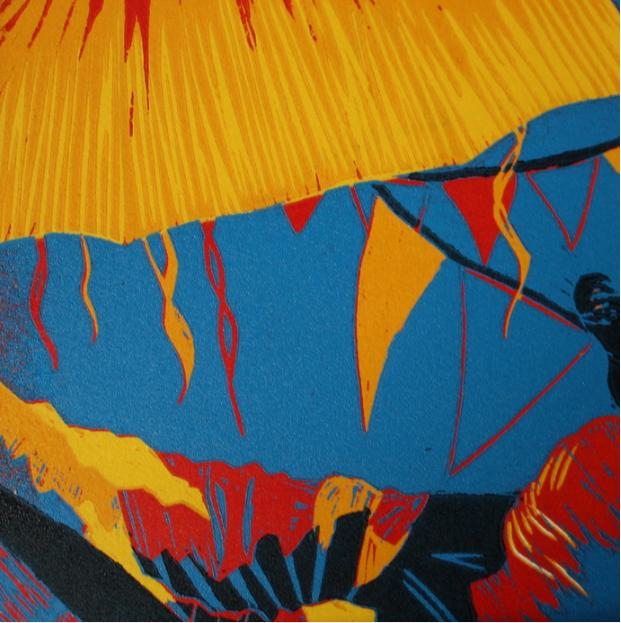 Karen Klee-Atlin, Carnival Colors 2 , 2011.  reductive woodcut  6 x 6 in.  $150