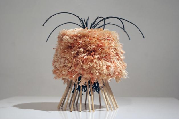 Sarah Krupp, Ingrown , 2015.  wire, wood, crochet threat, plastic, magic-sculpt, glue  7.5 x 9 x 9 in.  $175
