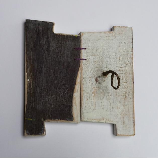 Marijke Leetouwer, Gates , 2016.  wood, thread, gesso, bronze antique part of scissors  7.7 x 7.3 x 3.35 in.  $195