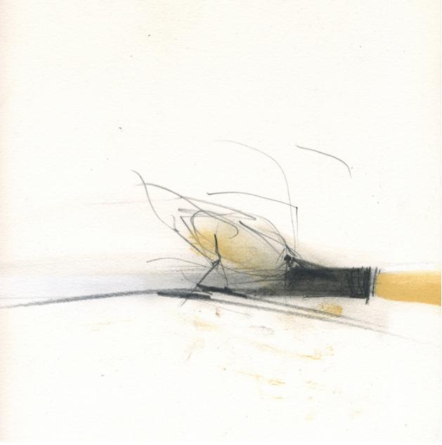 Anita Lehmann, last bird home , 2016.  graphite, pastel  8.5 x 8.5 in.  $600