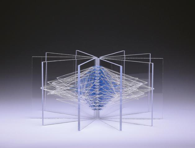 Macey Ley, Snow Blow , 2015.  acrylic, linen thread  5 x 10 x 10 in.  $650