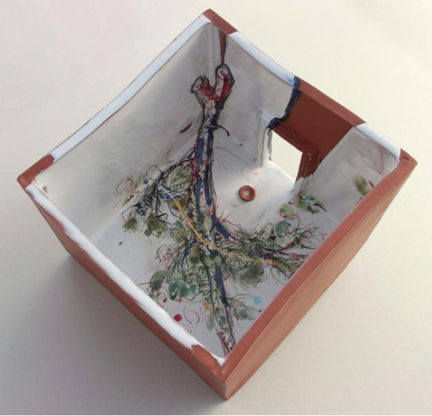 Terrell Lozada, Cedar Bed , 2015.  maiolica (tin-glazed terracotta) and kintsugi (urushi, gold)  8.5 x 8.38 x 8.5 in.  $1700