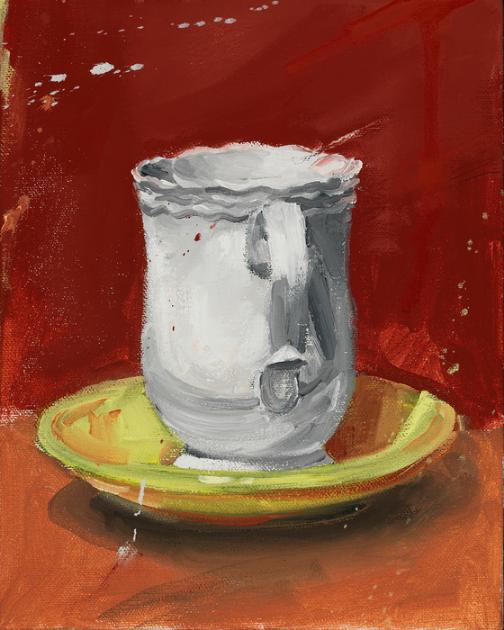 Norbert Marszalek, White on Yellow , 2016.  oil on canvas  10 x 8 in.  $650
