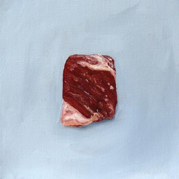 Benjamin Madeska, Short Rib , 2014.  oil on linen  8 x 8 in.  $900