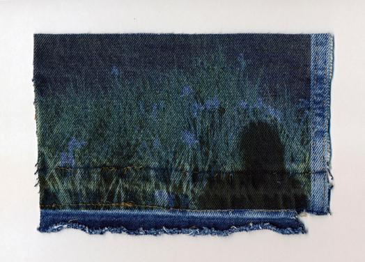 Kasey Medlin, Self Portrait on Jean, 2016.  digital pigment print on light-wash denim  5.75 x 8.5 in.  $300