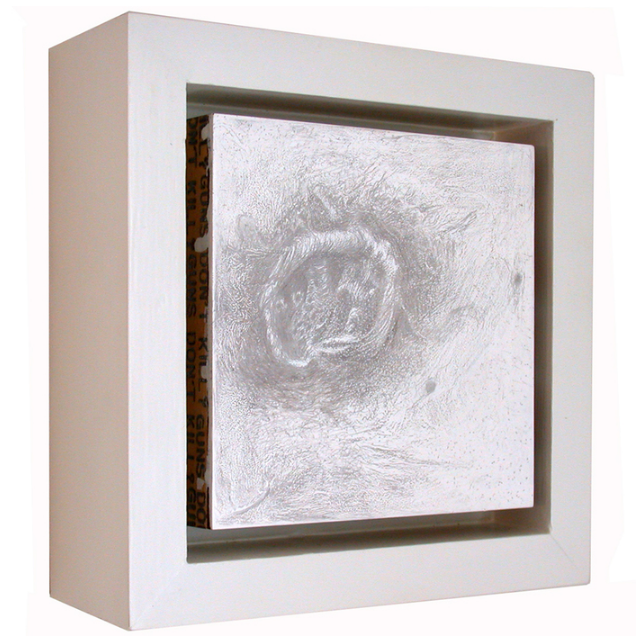 Donna Meeks,  GDK 10 side , 2015.  silverpoint on panel  6 x 6 x 2 in.  $1000