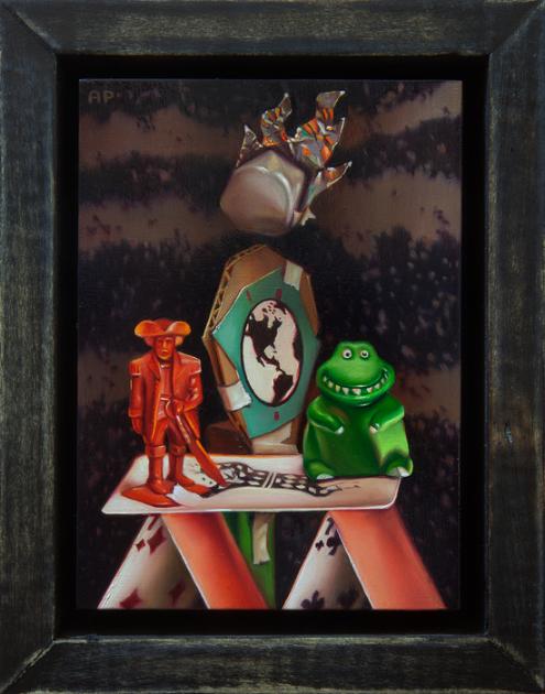 Aaron Pickens, Da Doom , 2016.  oil on panel  7 x 5 in.  $600 (not for sale)