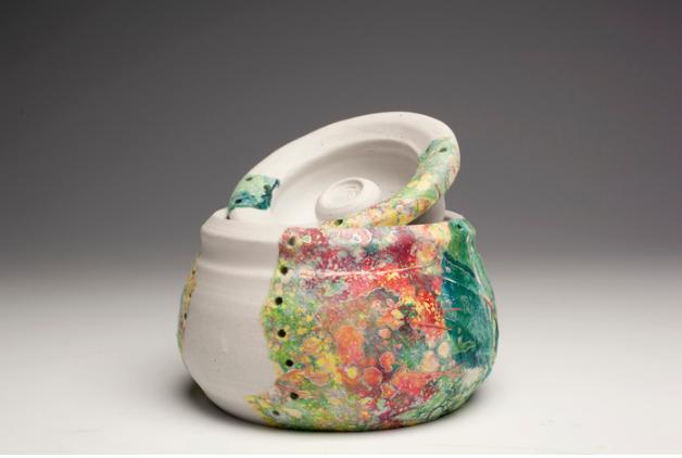 Mikhail Roque, Illusion of Diversity , 2015.  porcelain, monotype on kita-kata, collage  4 x 6 x 3 in.  $60