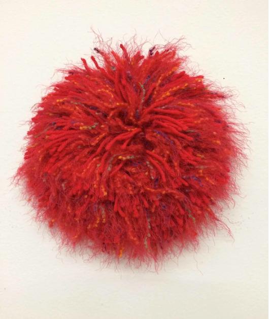 Judy Row, Red Hot Mama , 2016.  mixed media fiber  10 x 10 x 2.5 in.  $250