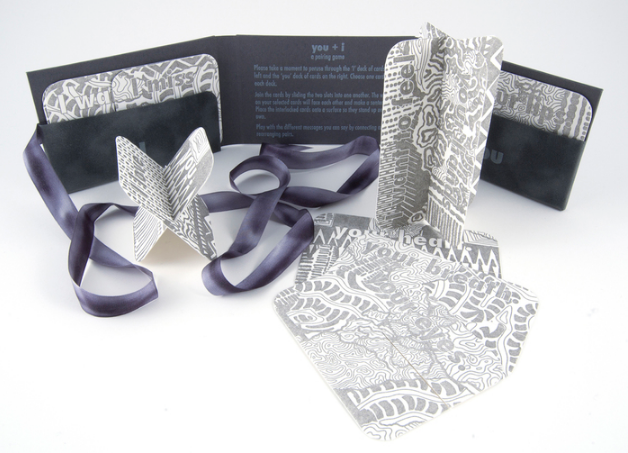 Cat Snapp, you + i , 2014  letterpress on paper, silk ribbon  3 x 4.25 x 0.75 in  $225