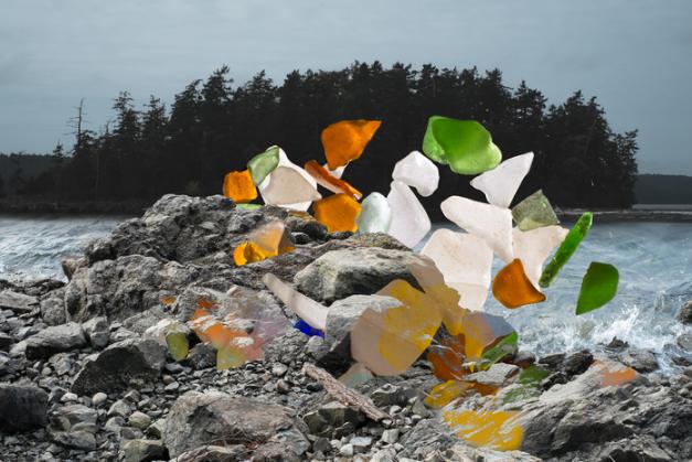 Sharon Swanson, Rocks, explosion #1, Orcas Island , 2015.  archival digital print  7 x 10 in.  $525