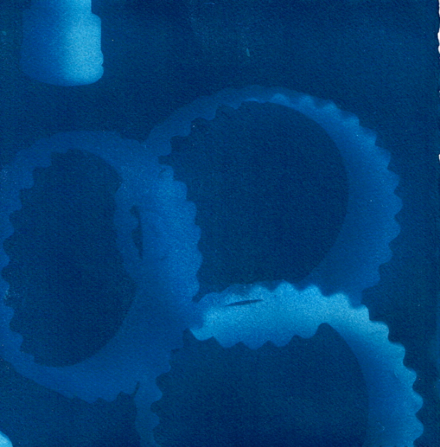 Judy Talley,  Storm Clouds , 2014.  cyanotype  7.75 x 7.75 in.  $200