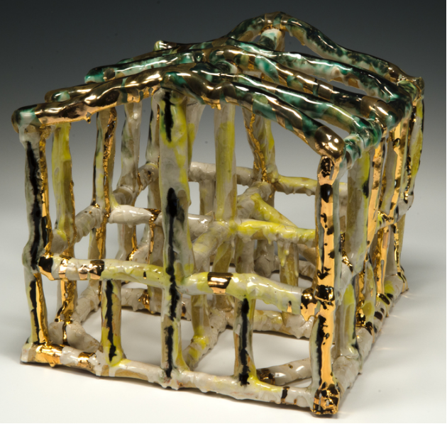 John Taylor,  Small Dwelling , 2016.  stoneware, slip, glaze, gold luster  9 x 9 x 10 in.  $250