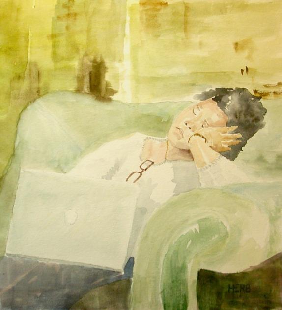 Herb Willey, Serena Sleeping in Birmingham , 2014.  transparent watercolor  9.5 x 7.5 in.  $3000