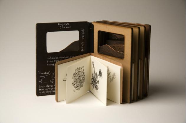 Bobi Wilson, Lower Columbia Basin Shrub-Steppe , 2012.  MDF board, copper, Moleskine paper, book cloth, Ziller ink  4 x 3 x 1.5 in.  $425