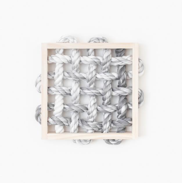 Cindy Zell, Infinity Loop , 2016.  pine wood, bamboo fibers  9.75 x 9.75 x 1.5 in.  $350