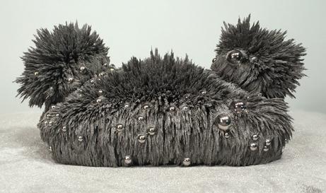 "Nola Avienne  ""Hairpiece for Björk: Silfur, Svitamyndun,"" 2017  magnets, steel filings, eyeshadow and ball bearings  Seattle, WA  3.5""x9""x5""  $1,300"