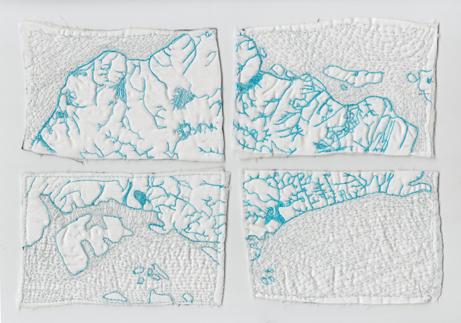 "Jessica Blaustein  ""Singapore Blue Map,"" 2015  cotton, batting, thread  Singapore  7""x10""x.125""  $400"