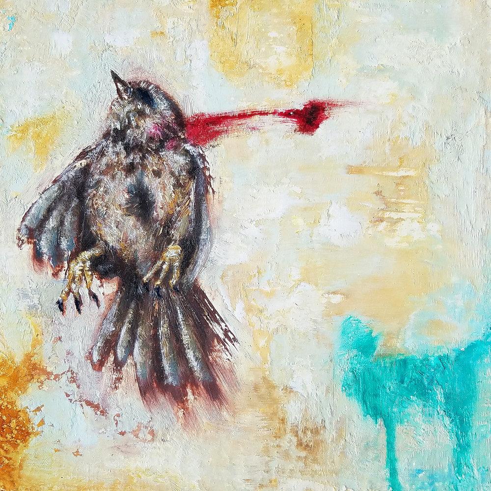 "Preston Boyd  ""Peanut Butter,"" 2017  oil paint on birch panel  Portland, OR  10""x10""x0""  $450"