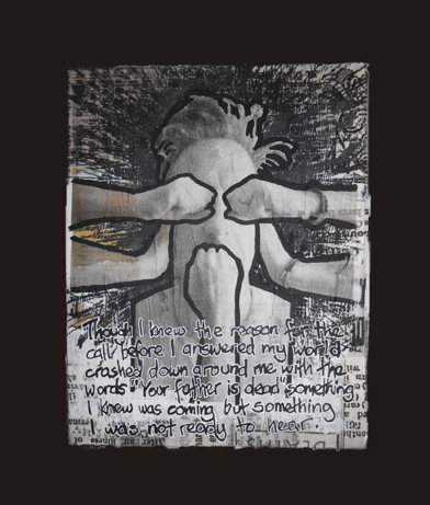"Perry Goddard  ""GRIEF #1,"" 2017  mixed media on board  Winnipeg, Manitoba  10""x8""x1""  $175"
