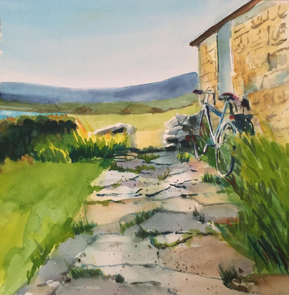 """Sara Cate  """"Scottish Cottage,"""" 2016  watercolor  Yakima, WA  10""""x10""""x0""""  $200"""