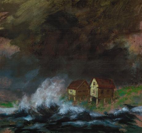 "Sarah Cecil  ""Hurricane: Fish Shacks, Maine,"" 2014  acrylic on panel  Portland, ME  9""x9""x0""  $1,200"