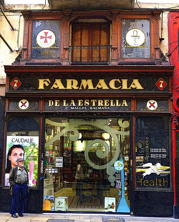 """Sara Drower  """"Farmacia de le Estrella,"""" 2017  digitized photograph  Wilmette, IL  10""""x8""""x0""""  $100"""