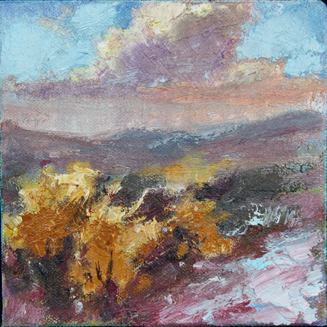 "Laura Gable  ""Rabbit Brush,"" 2016  oil  Kennewick, WA  5""x5""x2""  $200"