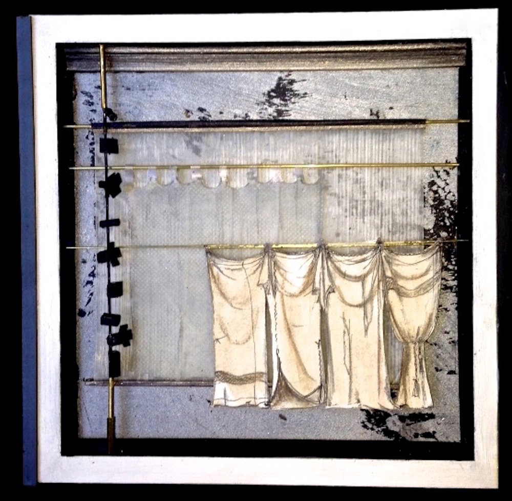 "Karen Gjelsteen  ""Curtains,"" 2017  mixed media with soldered brass  Seattle, WA  8""x8""x1""  $235"