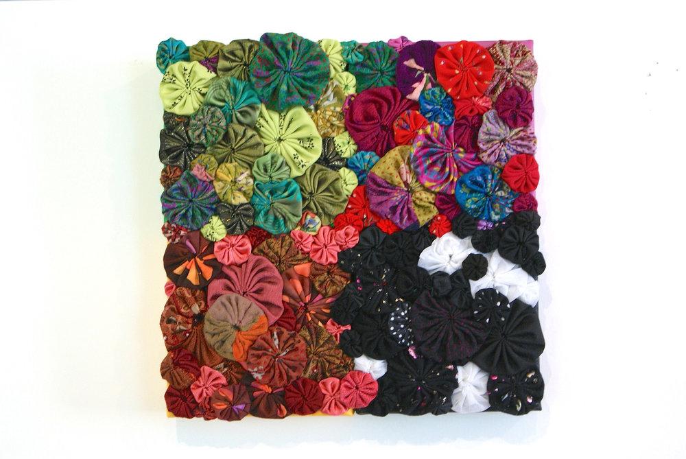 "Kathryn Glowen  ""Seasons I,"" 2017  fabric and acrylic on canvas  Arlington, WA  10""x10""x1""  $250"