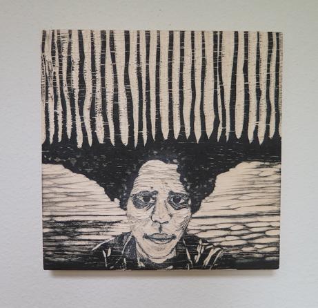 "Aisha Harrison  ""Growing,"" 2017  wood carving, ink  Olympia, WA  8.5""x8.5""x.88""  $1,500"