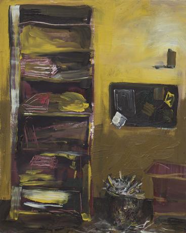 """Sarah Heyward  """"Paper Plight,"""" 2017  oil on panel  Pleasant Hill, CA  10""""x8""""x0""""  $500"""