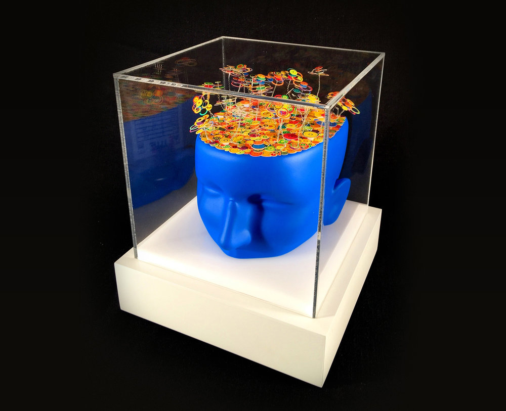 "Rick Holst  ""Blue Man,"" 2016  mannequin head, paper, wire, paint, pins  Edmonds, WA  9""x8""x8""  $700"