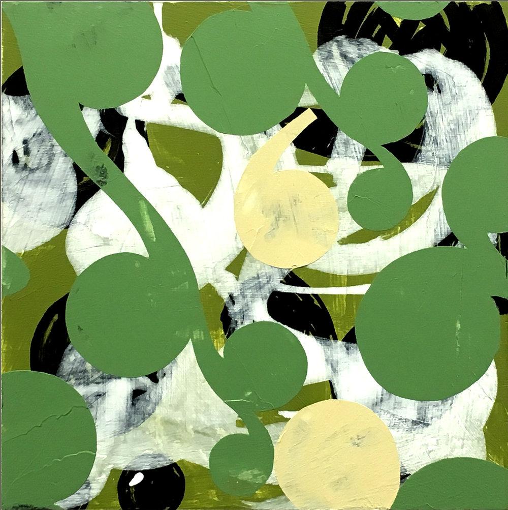 """Richard Hutter  """"Bracken I,"""" 2017  acrylic on panel  Seattle, WA  10""""x10""""x0""""  $500"""