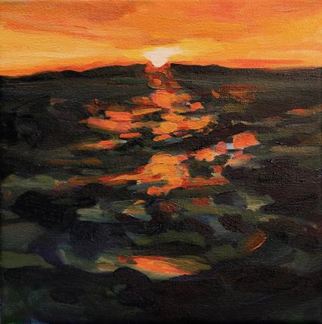 "Kelly Johnston   ""Sunbathe,"" 2017  water soluble oil on canvas  Bainbridge Island, WA  10""x 10""x1.3""  $300"