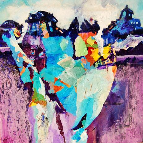 "Carson Kapp  ""Cragy Urbs,"" 2016  acrylic  New Smyrna Beach, FL  8""x8""x1.5""  $60"