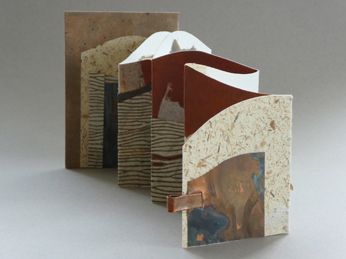 "Susan Kimmel  ""Palouse Country,"" 2017  handmade book; papers and copper  Wenatchee, WA  6.5""x4.5""x10""  $275"