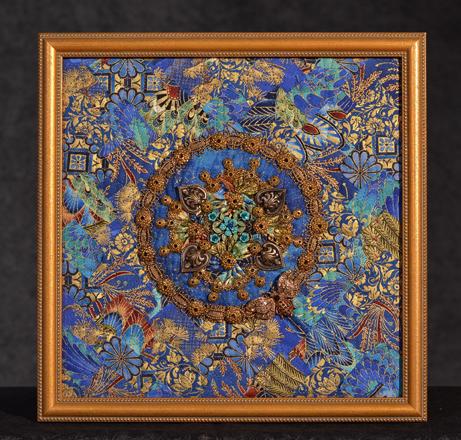 "Kathy Knapp  ""Last Flight of the Honeybee?,"" 2017  testiles, beads, recycled jewelry  Belpre, OH  10""x10""x0""  $400"