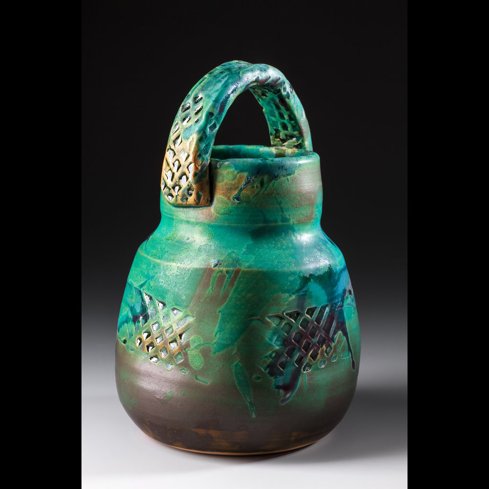 "Lisa Kurtz  ""Flower Basket,"" 2017  white stoneware  Knoxville, TN  9""x5.5""x5""  $74"
