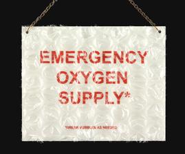 "Sharon Leong  ""Emergency Oxygen Supply,"" 2014  metal, bubble wrap  San Francisco, CA  8""x10""x0""  $100"