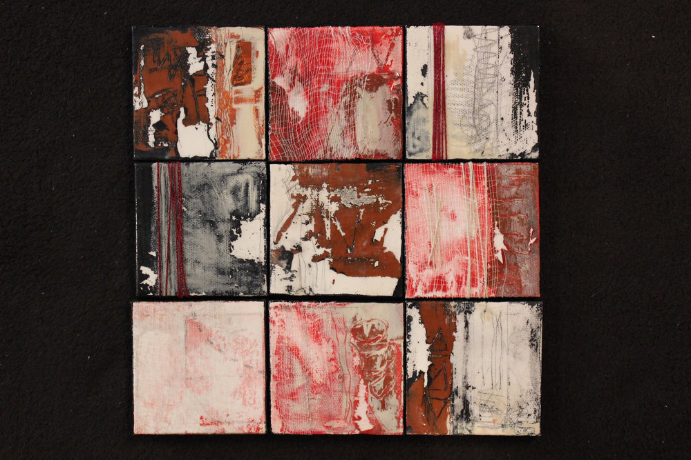 "Lynlee Lyckberg  ""Nine Halls Diagram,"" 2015  acrylic, mixed media  Nevada City, CA  9""x9""x.5""  $500"