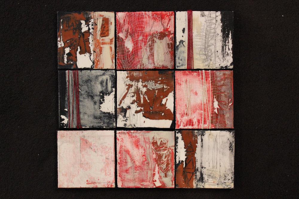 "Lynlee Lyckberg  ""Nine Halls Diagram,"" 2015  acrylic, mixed media  Nevada City, CA  9""x9""x.5""  $500"