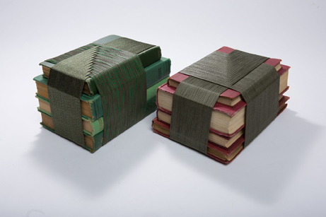 "Shawn Parks  ""Knowledge is Power,"" 2016  used books and yarn  Seattle, WA  5.5""x9""x5""  $500"