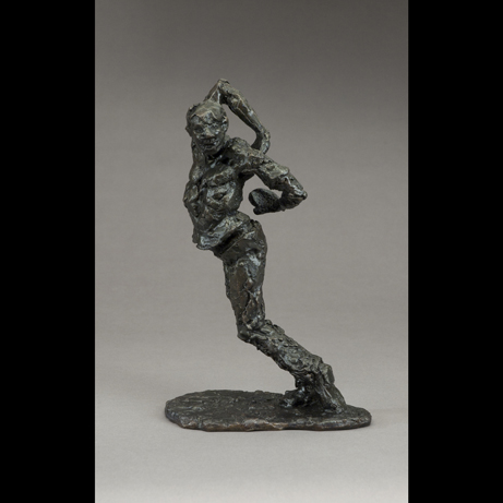 "James Parlin  ""Not So Good: Shot in the Back,"" 2014  bronze, chemical patina  Edinboro, PA  9""x5.5""x3.5""  $3,500"