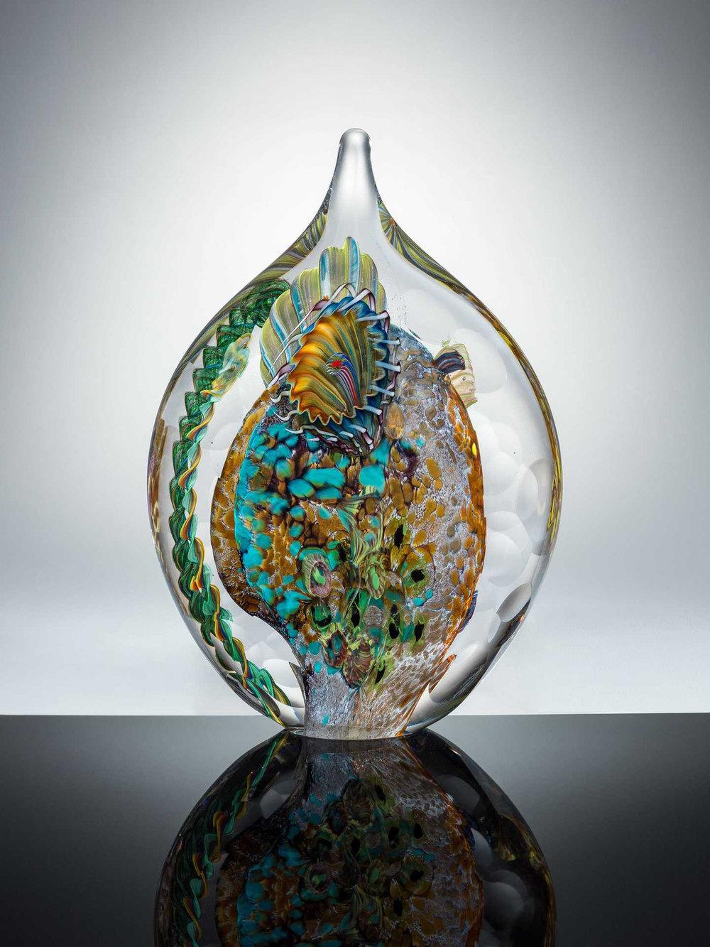 """Matthew Paskiet  """"Facet Seascape Sculpture 3,"""" 2017  glass blown  Holland, OH  8.5""""x6""""x2.5""""  $525"""