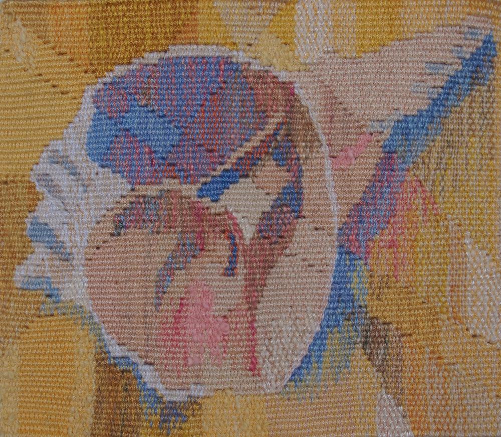 "Liz Pulos  ""Shell,"" 2016  woven tapestry  Tacoma, WA  7.5""x8.75""x0""  $250"
